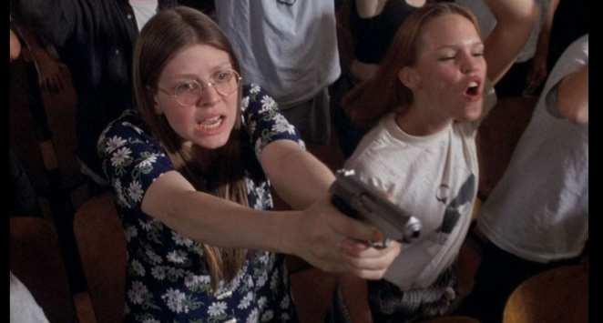 School terrorist aims gun