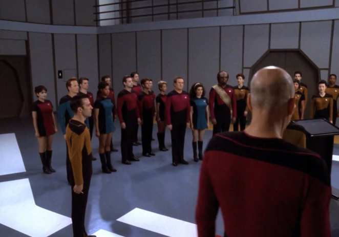 Jean Luc Picard addresses his Star Trek: The Next Generation Enterprise crew one last time.