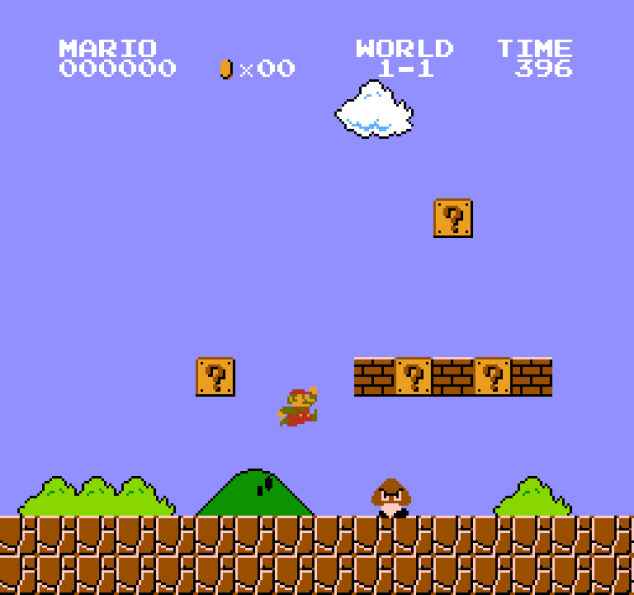 Mario encountering his first Goomba in world 1-1