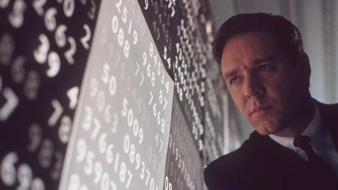 Russell Crowe as John Nash in A Beautiful Mind