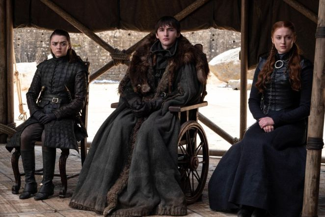 Arya, Bran and Sansa Stark in the Game of Thrones finale