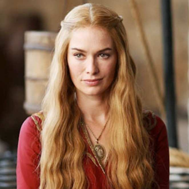 Cersei Lannister, smirking, in red dress