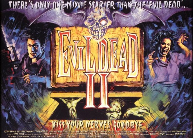 The UK theatrical poster for Evil Dead II: :Dead by Dawn.