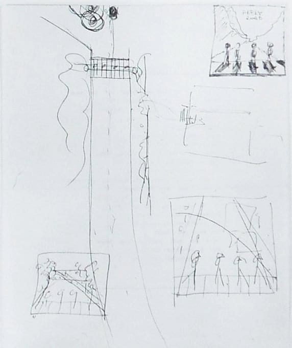 conceptual sketches by paul mccartney for abbey road album cover