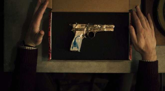 """The Blue Scorpion gun, which becomes an albatross for Chris O'Dowd's Stork in """"The Blue Scorpion"""""""