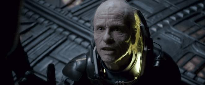 Weyland pleading with the Engineer in Prometheus