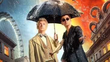 Good Omens Episode 2 promo image with Crowley and Aziraphale