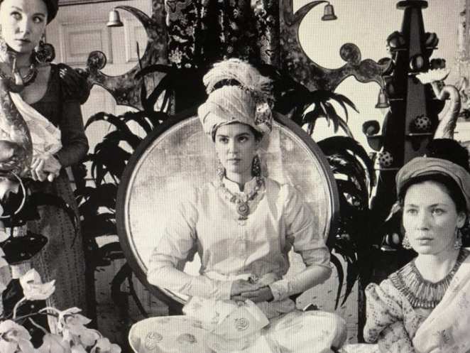 Princess Caraboo, with ladies-in-waiting, posing for a portrait