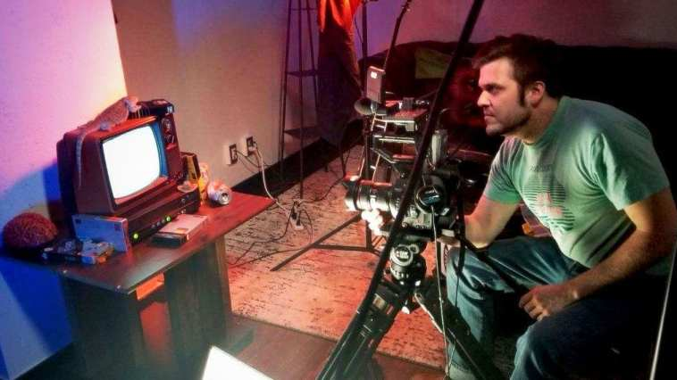 Director Austin Jennings at work on the Last Drive-In title sequence.