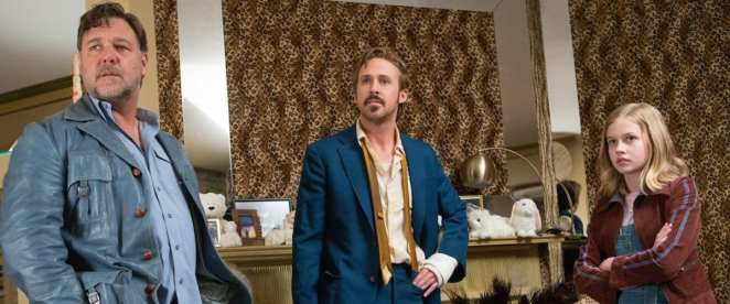 Russell Crowe, Ryan Gosling, and Angourie Rice in Shane Black's The Nice Guys