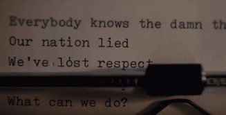 Text appears in a typewrite in Madonna's God Control video