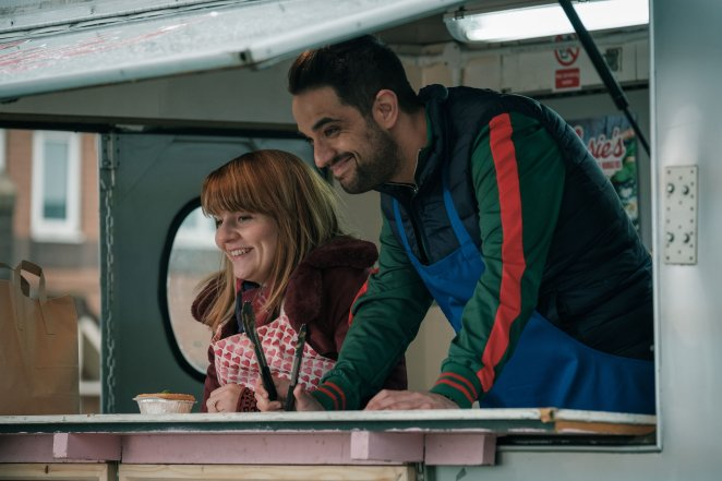 Ruth Madeley as Rosie Lyons with Jonjo in the BBC and HBO show Years and Years