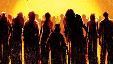 A picture of a crowd of silhouetted zombies that is from the 2004 Dawn of the Dead poster.