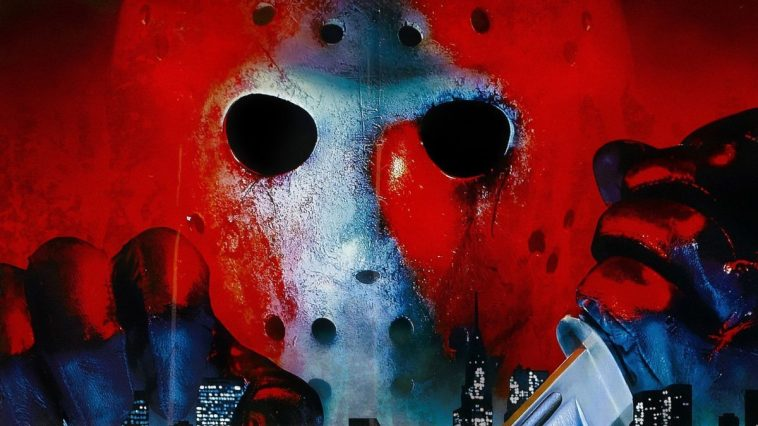 Jason hovering over the New York skyline in Friday the 13th Part VIII: Jason Takes Manhattan.