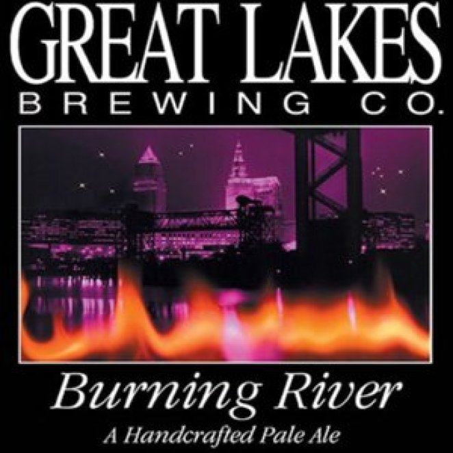 The river burns on the label for Great Lakes Burning River pale ale