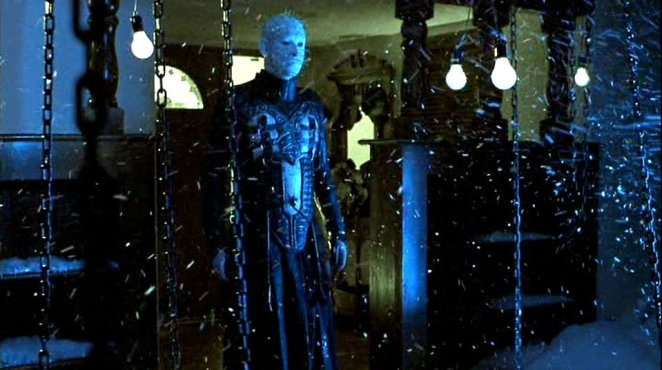 Pinhead (Doug Bradley) making his grand appearance in the finale of Hellraiser: Inferno.