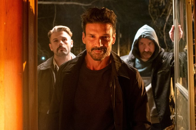 Left to Right: David Cade as Charlie , Frank Grillo as Sloan, and Scott Peat as Bruce in the action/thriller INTO THE ASHES