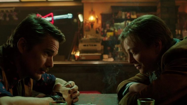 The Bartender (Ethan Hawke) and John/Jane (Sarah Snook) create a time loop in Predestination (2014).