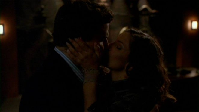"""""""One for the road"""" - Angel and Cordelia kissing."""