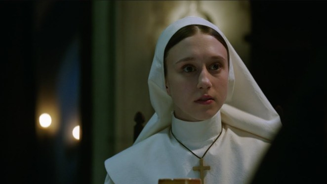 Taissa Fermiga (Sister Irene) faces an ancient evil in The Conjuring 2 (2016) spinoff The Nun (2018).