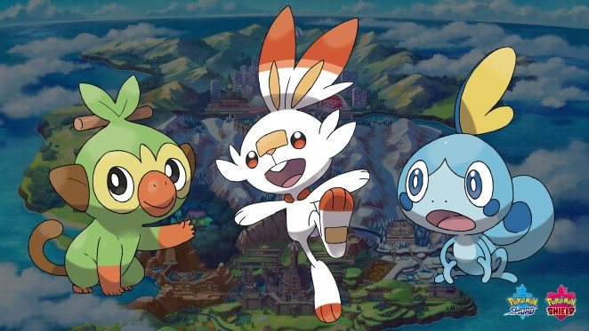 The three starter pokemon in the upcoming pokemon sword and shield