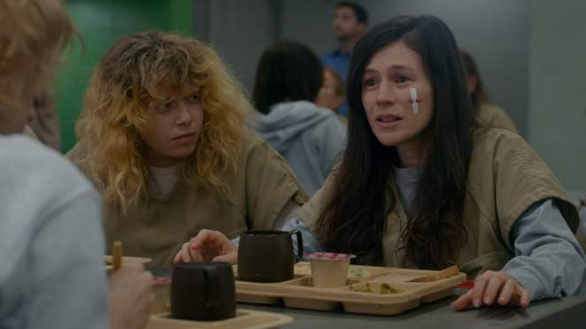 Nicky realises that Lorna's madness is beyond her control as they sit in the cafeteria