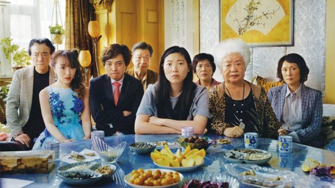 "Left to Right: Jiang Yongbo, Aoi Mizuhara, Chen Han, Tzi Ma, Awkwafina, Li Xiang, Lu Hong, Diana Lin."" Courtesy of Big Beach."