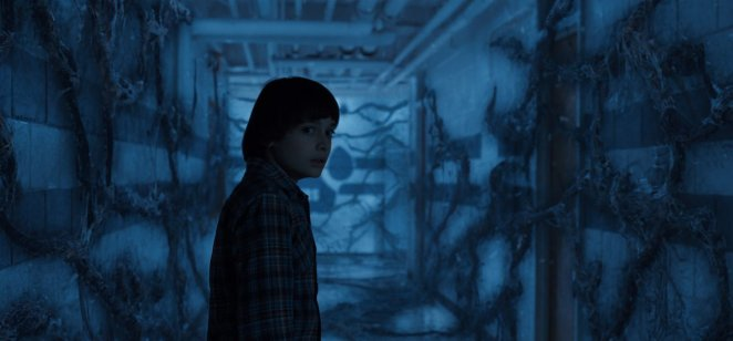 Will looks around, scared, in the Upside Down