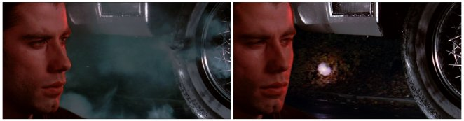 These side-by-side diopter frames from de Palma's Blow Out show two realities: an accidental tire blow out and one caused by an intentional shot.