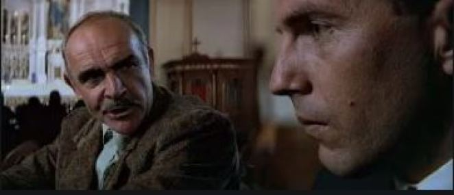 Sean Connery and Kevin Costner confer in a diopter scene from de Palma's The Untouchables.