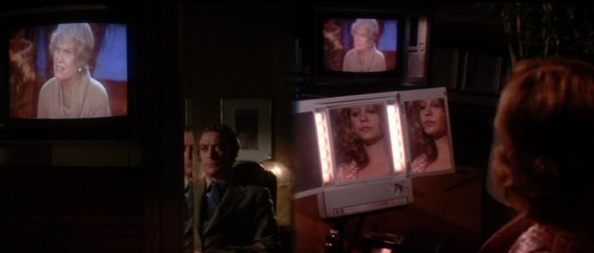This classic scene from Dressed to Kill uses both split screen and diopter, plus images of screens and mirrors, to show an increasingly complex world of plot and perspective.