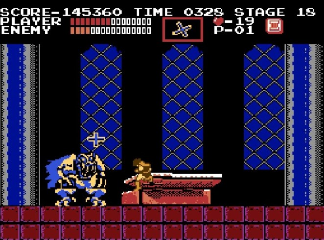 At the top of Castlevania, in front of Dracula's coffin, Simon battles Dracula's second, and final form, a large winged demon who spits fireballs.