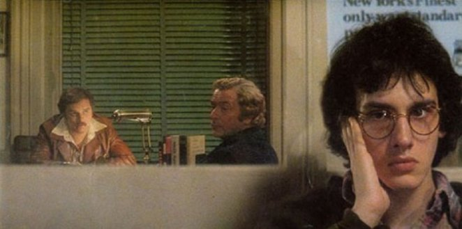 Two middle-aged men talk to each other in a detective's office in the background, while a teenage boy eavesdrops in the foreground.