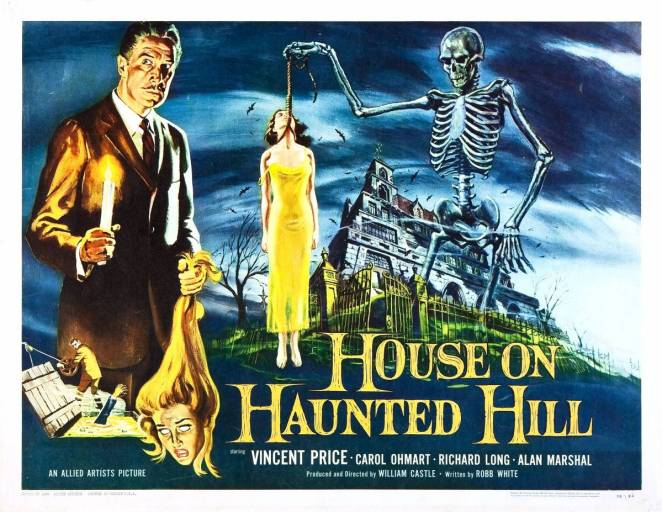 The poster for the original House on Haunted Hill features a man holding a candle and woman's decapitated head, a hand reaching out from a vat of boiling acid, a skeleton holding a woman by a noose, with the haunted house looming in the background.