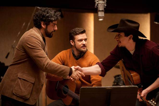 Oscar Isaac, Justin Timberlake and Adam Driver exchange hellos before recording in Inside Llewyn Davis.