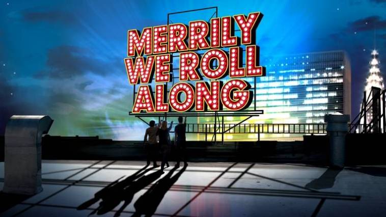 The original poster for Merrily We Roll Along, which is silhouettes of three people on an urban rooftop, pointing at the night sky.