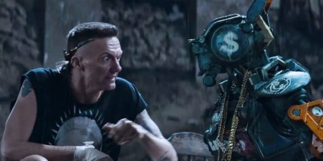Ninja has a quiet moment with Chappie, explaining how he needs to help with the heist to get a new body