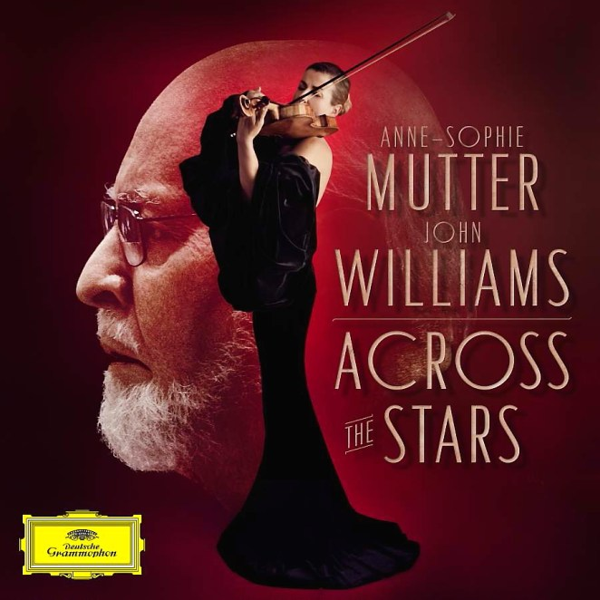 The cover of Across the Stars features Anne-Sophie Mutter playing violing in front of a large profile of John Williams' face