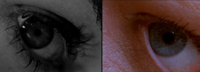 A side-by-side picture of a close-up shot of Marion Crane's eye from the Psycho original and remake.