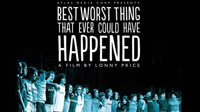 The one-sheet for the film, featuring the original teenage cast of Merrily, standing in a line on a stage, their arms around each other.