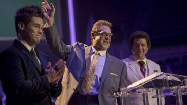 Adam Devine, John Goodman, and Danny McBride are on stage at their megachurch in The Righteous Gemstones