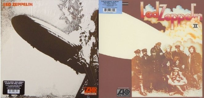 Led Zeppelin 1 and 2 album covers