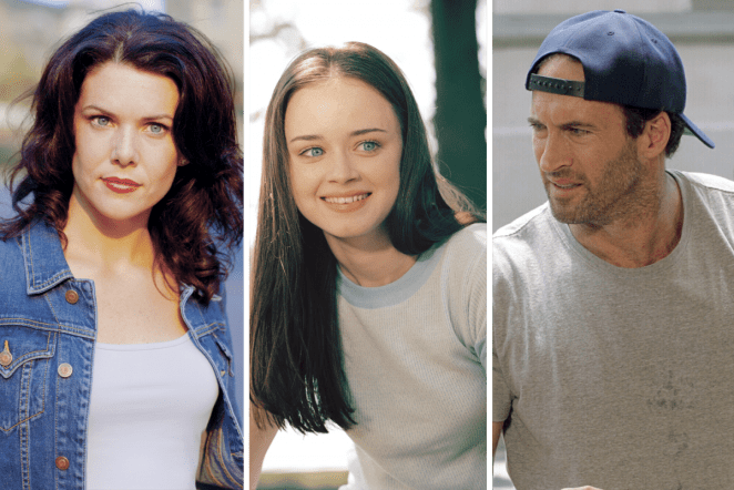 Lorelai, Rory and Luke posing for separate pictures
