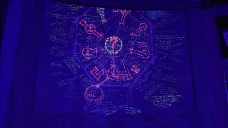 Locke sees the blast door map of the Dharma stations