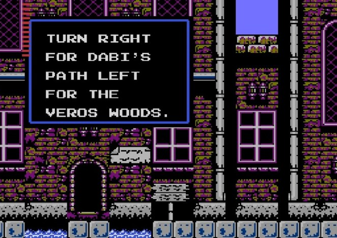 A town sign reads: Turn Right For Dabi's Path Left For the Veros Woods. The town's color palette difficult to discern.