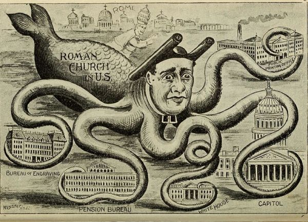The Catholic Church depicted as an octopus wraps its arms around American institutions