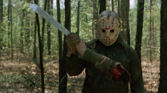 Jason Voorhees holding a severed arm