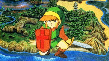 Link, a young boy in a green tunic crouches with a sword and shield. In the background the hills and fields of Hyrule are visible.