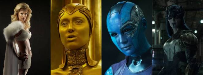 Panel of Four images showcasing female villains in Marvel films, including Emma Frost from X-Men, Ayesha and Nebula from Guardians of the Galaxy and Proxima Midnight from Infinity War