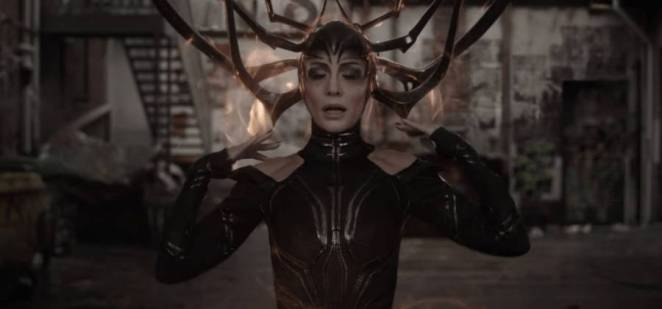 Hela (Cate Blanchett) gears up to destroy Thor